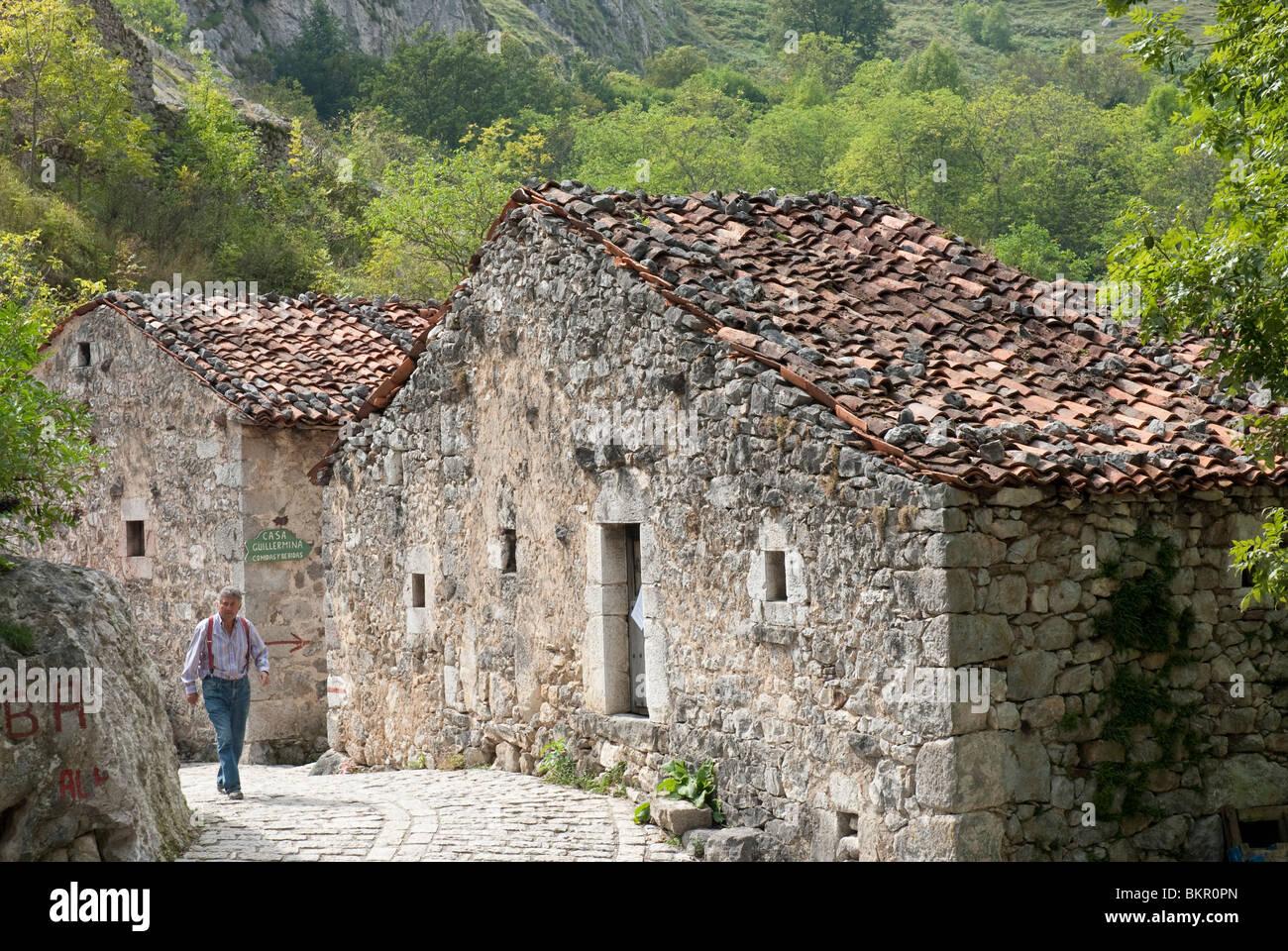 Lower Bulnes, a typical mountain village, Picos de Europa, Northern Spain - Stock Image