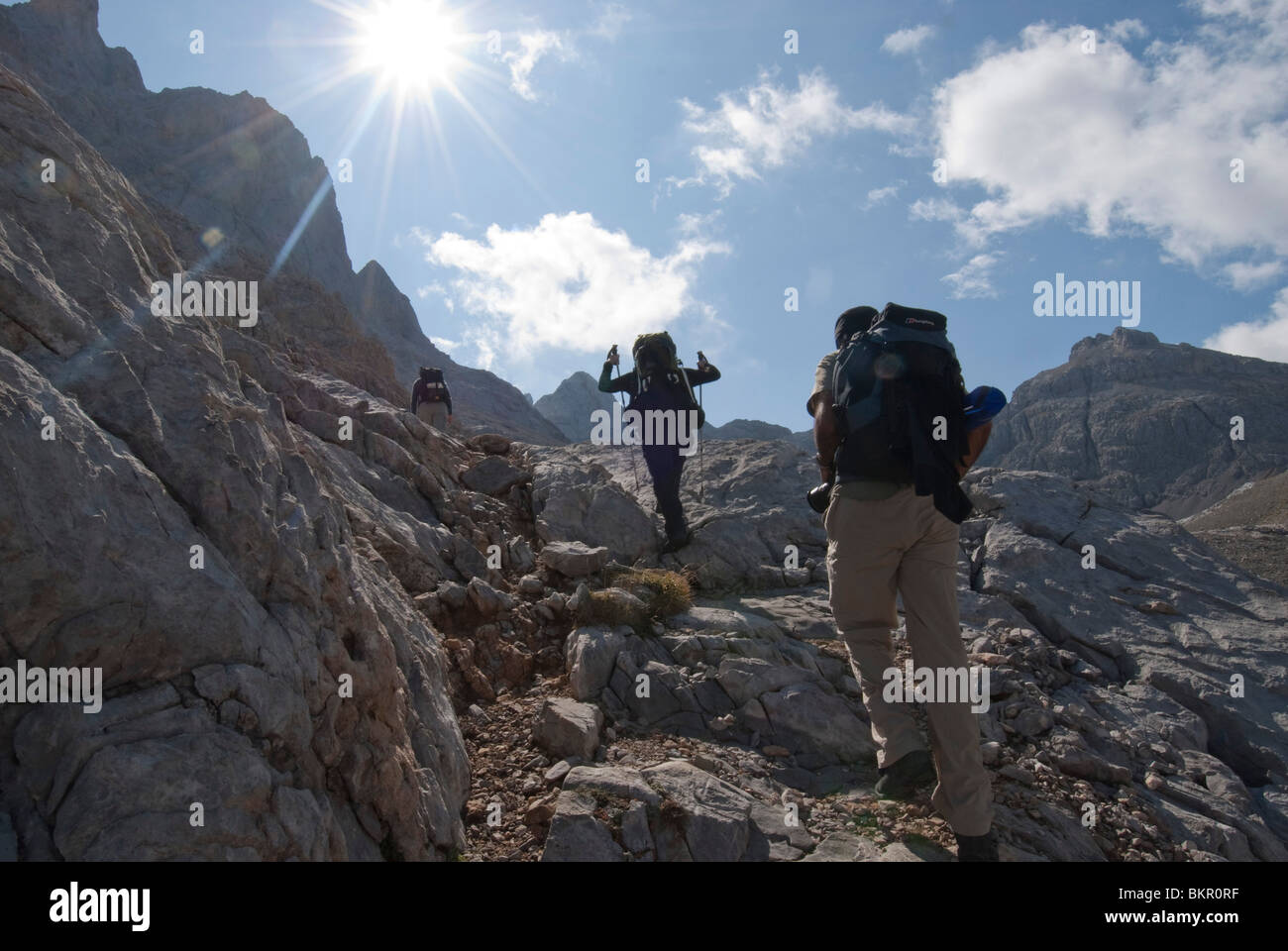 Scrambling in the Central Massif, Picos de Europa, Northern Spain - Stock Image