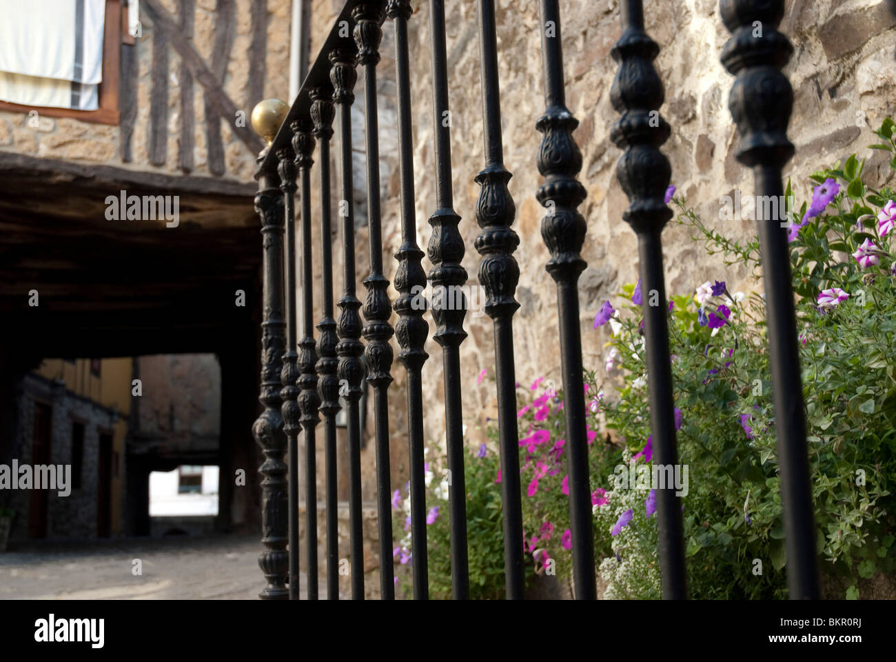Covered walkway, Town of Potes, Picos de Europa, Northern Spain - Stock Image