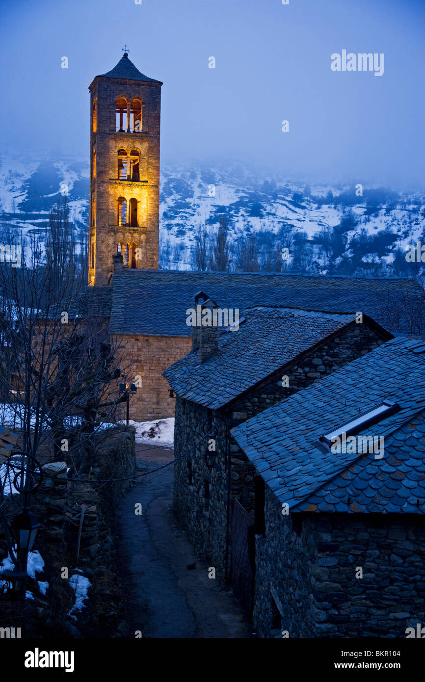 Romanesque church (s. XII) UNESCO, World Heritage Site, Pyrenees. Spain - Stock Image
