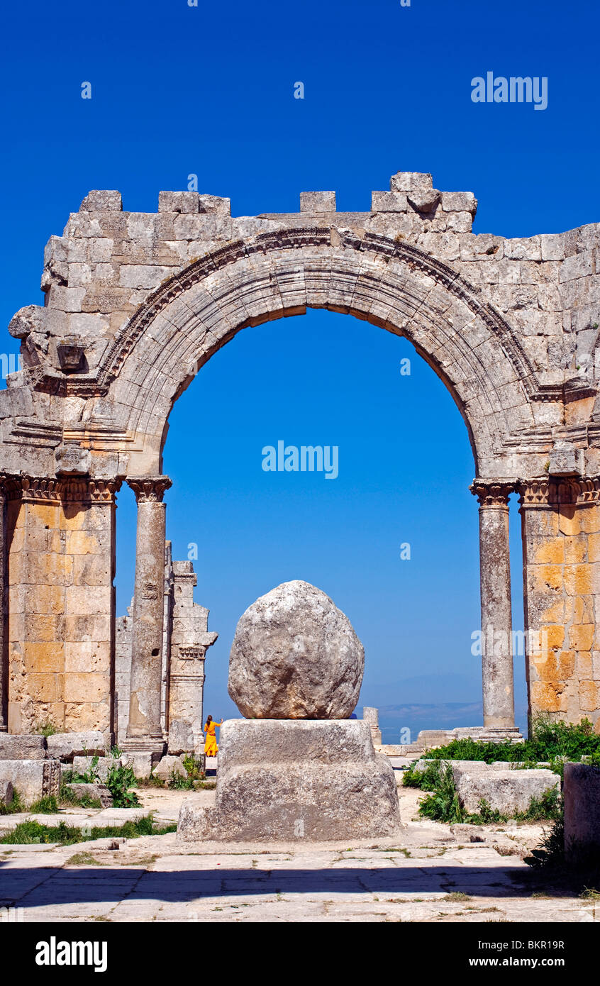 Syria, Aleppo. The church of St Simeon. The base of the column, on which St Simeon the stylite sat for 37 years. - Stock Image