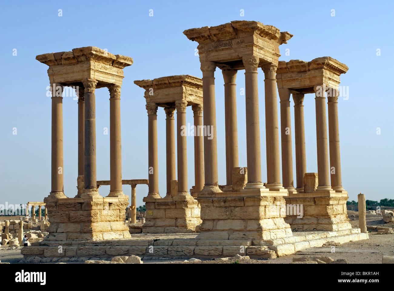 Syria, Palmyra. The Tetrapylon on the cardo maximus. - Stock Image