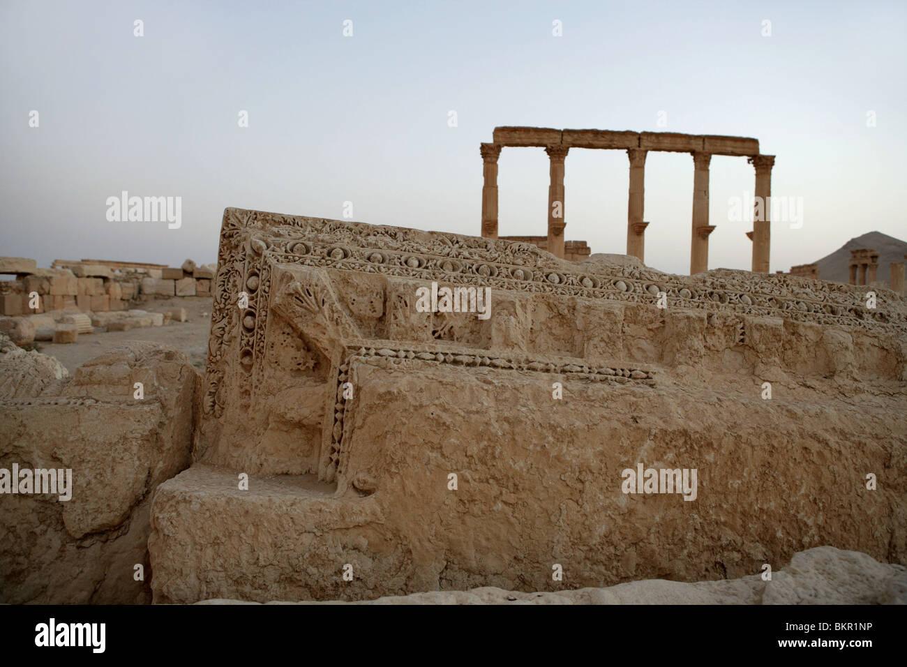 Decorated entablature, Roman ruins. Palmyra, Syria - Stock Image