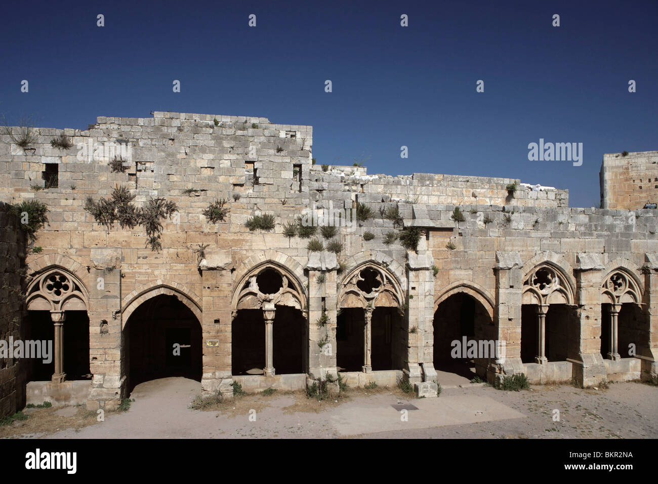 Gothic cloister and Chevaliers' Room, 13th century, Krak des Chevaliers also known as Qala'at al-Husn, Homs - Stock Image