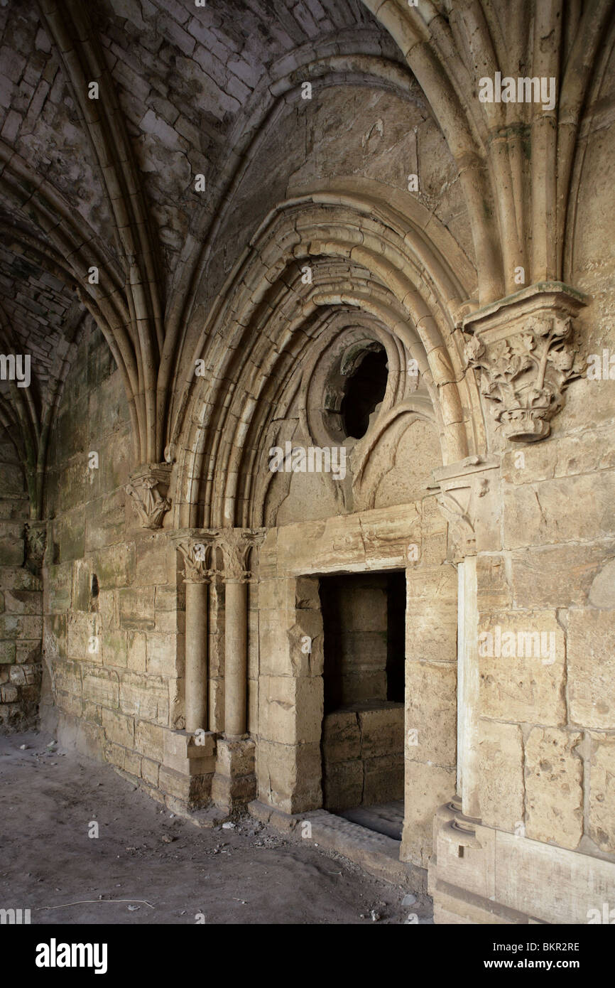 Gothic cloister and Chevaliers' Room from 13th century, Krak des Chevaliers also known as Qala'at al-Husn, - Stock Image