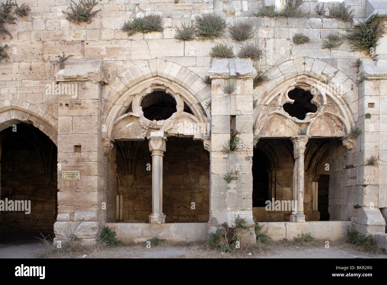 Arches of the Gothic cloister and Chevaliers' Room, 13th century, Krak des Chevaliers, Qala'at al-Husn, - Stock Image