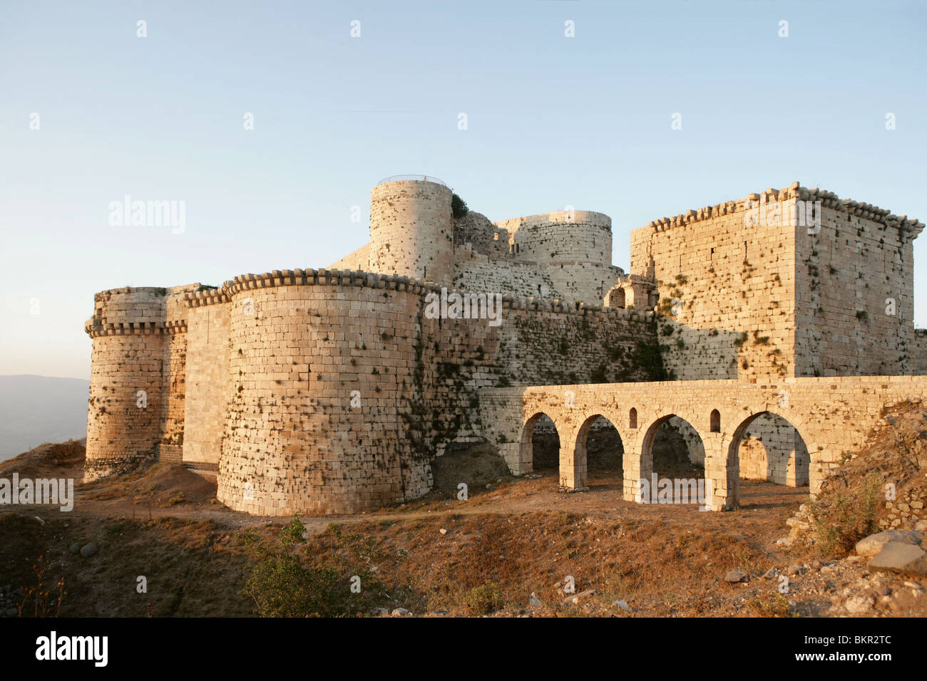 Krak des Chevaliers castle also known as Qala'at al-Husn, Homs Gap, Syria. It was originally built in 1031 for - Stock Image