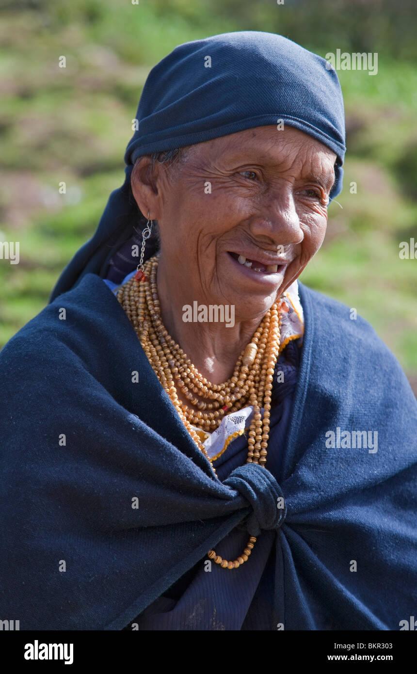 Ecuador, An old woman near Otavalo. - Stock Image