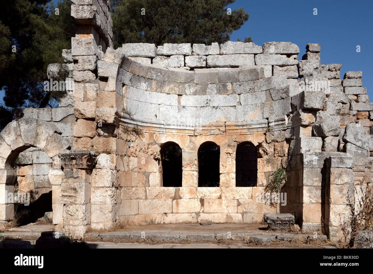 Ruined baptistery, St Simeon Stylite basilica, 473, Deir Samaan, Syria. - Stock Image