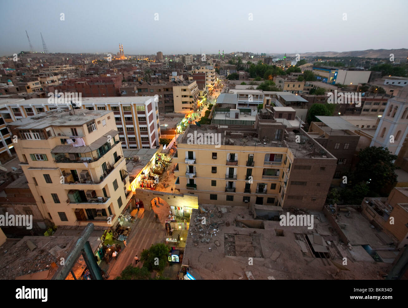 Egypt, Aswan  The main souq street in Aswan lights up and