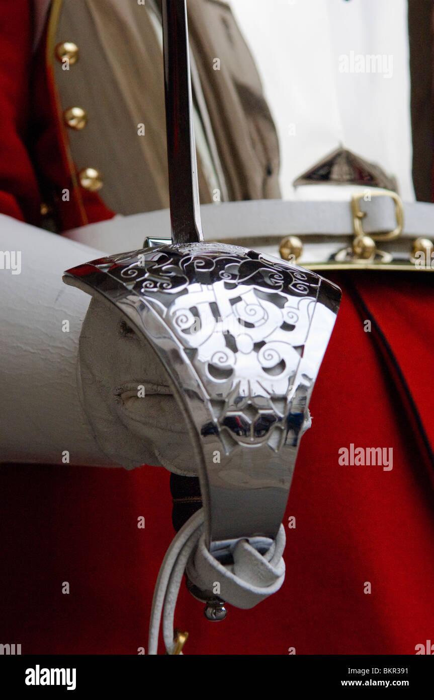 England, London. A Guardsman in the Household Cavalry holding a Ceremonial Sword. Stock Photo