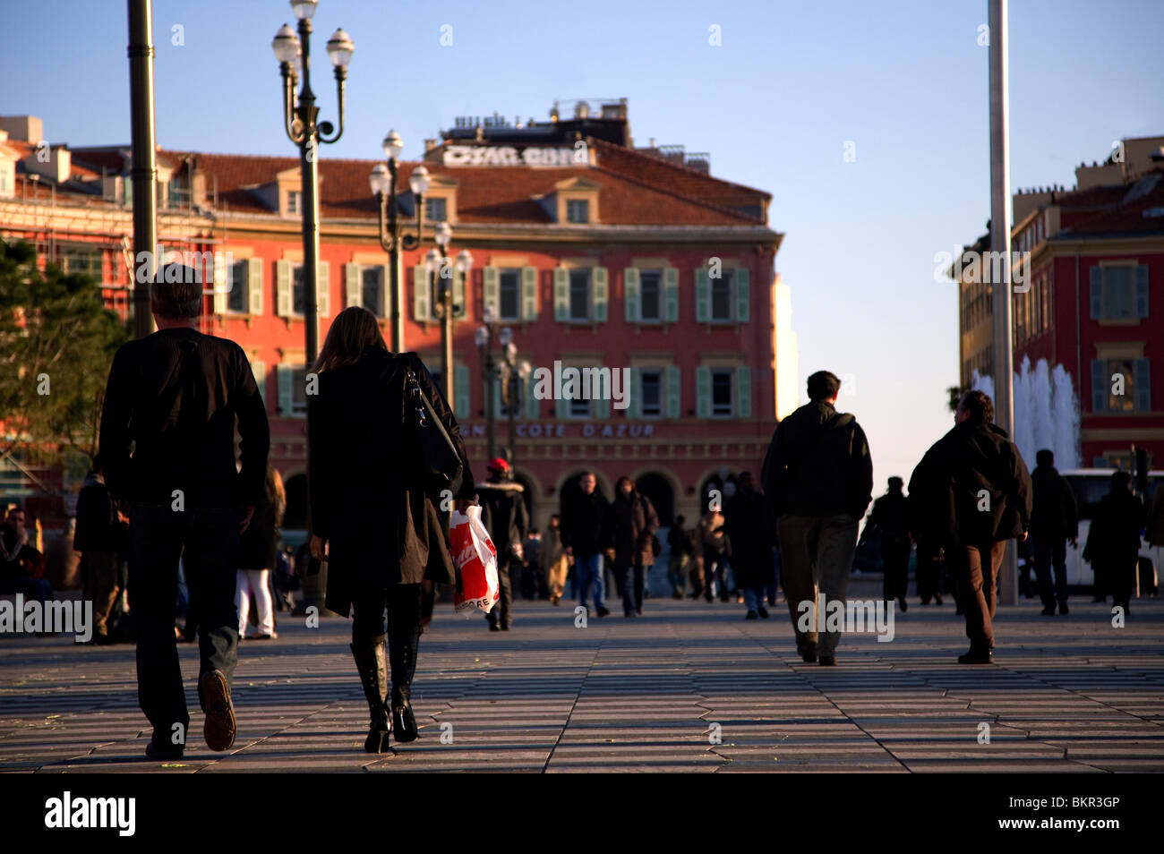 France, Cote D'Azur, Nice; Place Massena, one of the main squares of the city where the locals and tourists - Stock Image