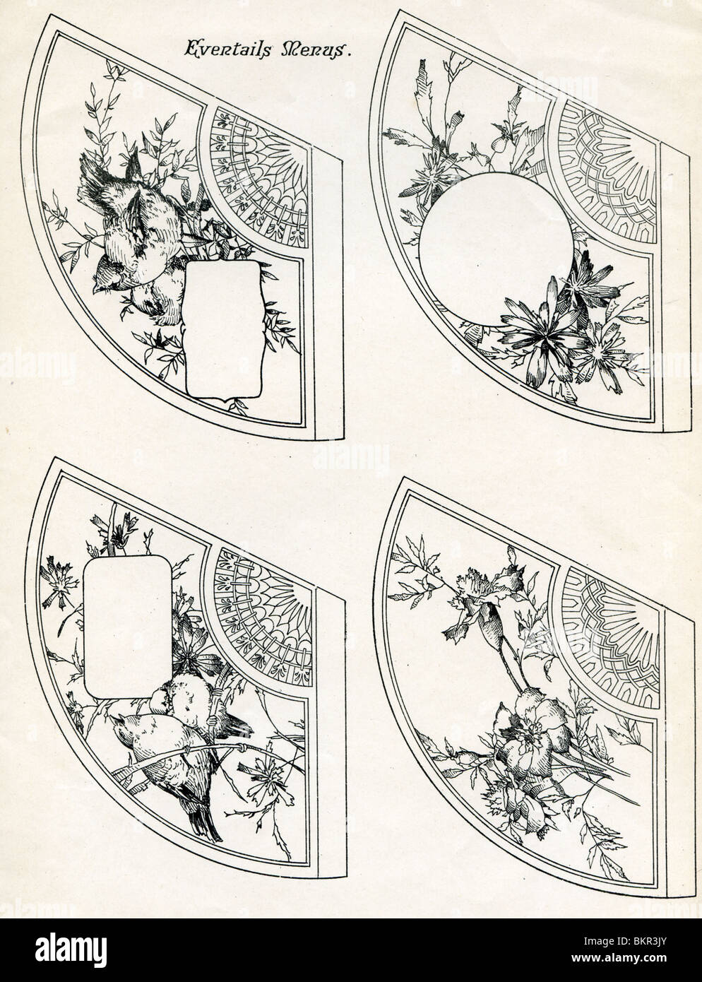 Eventails Menus, 1909 - Stock Image