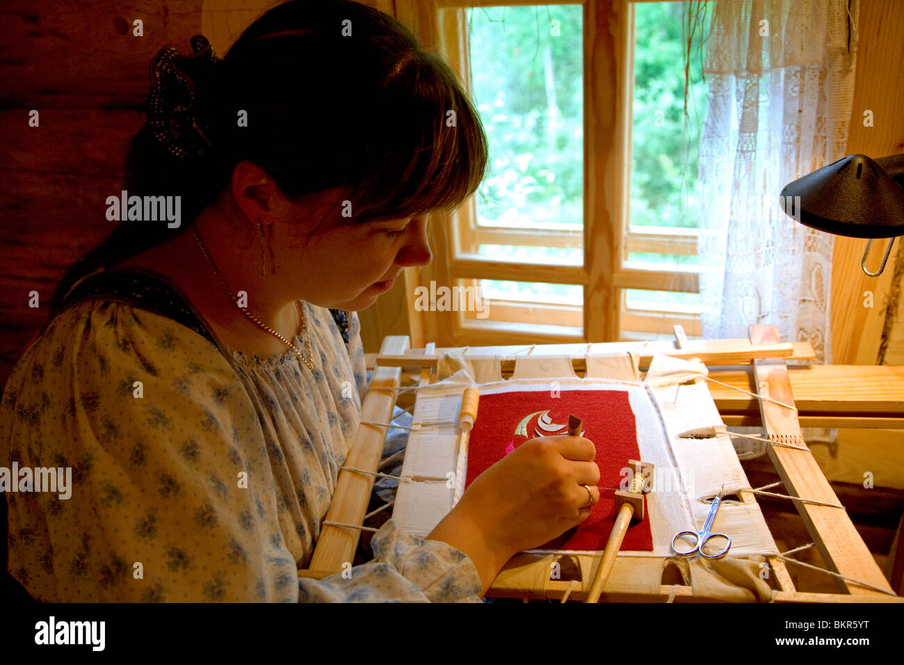 Russia, Leningrad Region, Podporozhsky - In Mandrogi, a crafts village on the Svir river - Stock Image