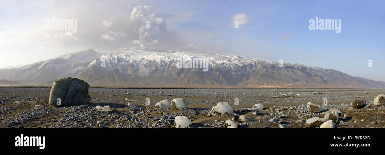 Panoramic Stitch of Eyjafjallajokull Volcano Iceland - Stock Image
