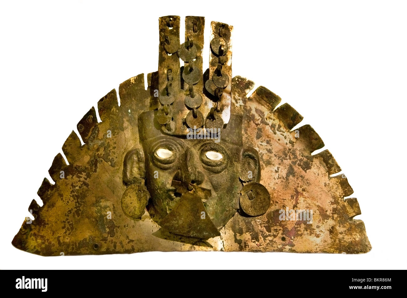 Mochica 100 BC 700 AD Peru Peruvian touched or pectoral - Stock Image