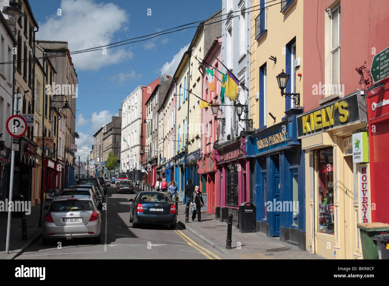 View showing the colourful shop fronts on North Street, New Ross Co Wexford, Ireland. - Stock Image