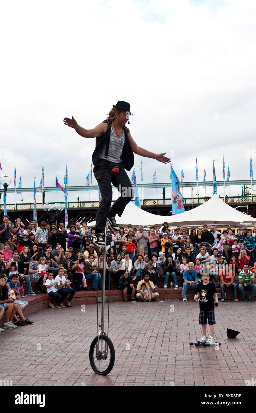Street theatre, Hoopla Festival, Darling Harbour, Sydney, Australia - Stock Image