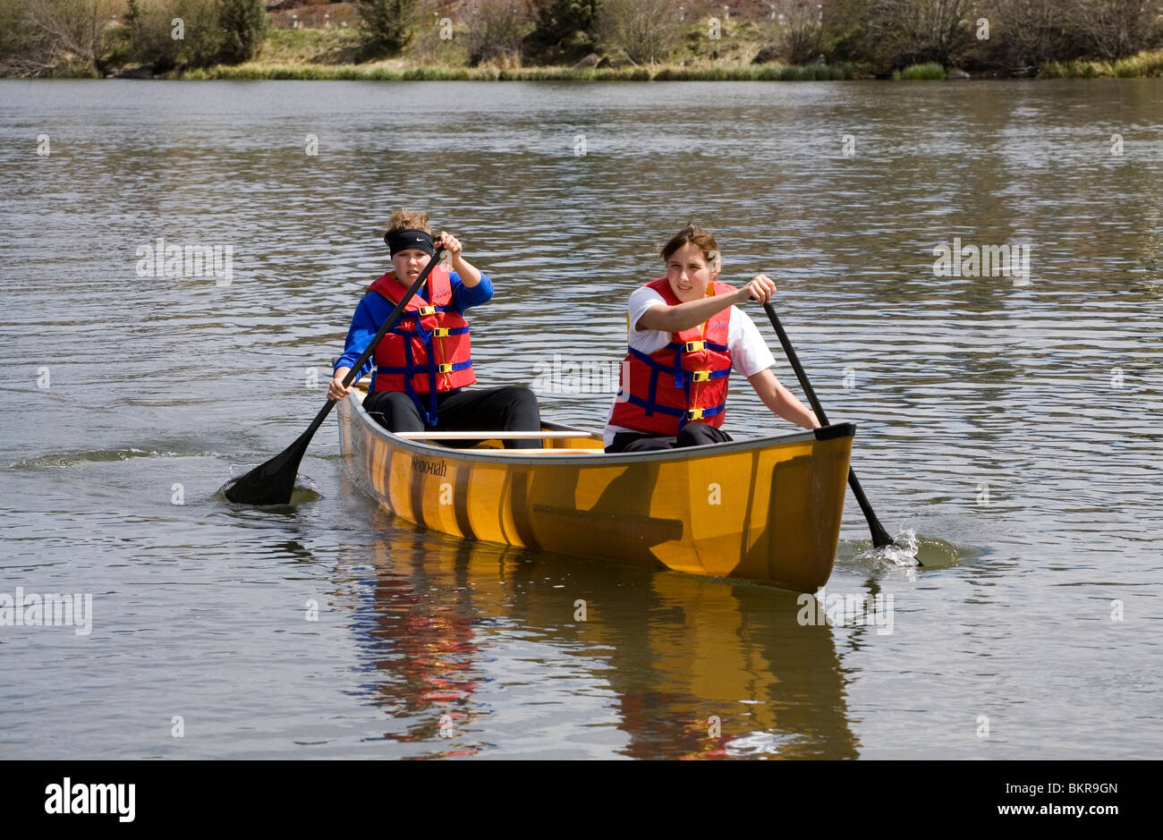 High school girls paddle a kevlar canoe on the Deschutes River in Bend, Oregon - Stock Image