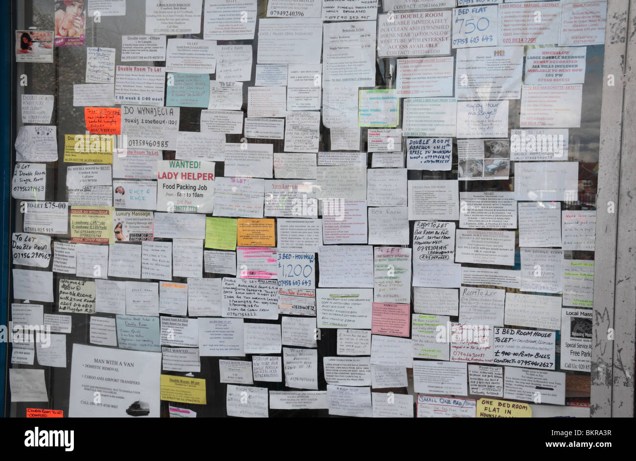 A board full of small ads in a newsagent shop window in Hounslow West, Middx, UK. - Stock Image