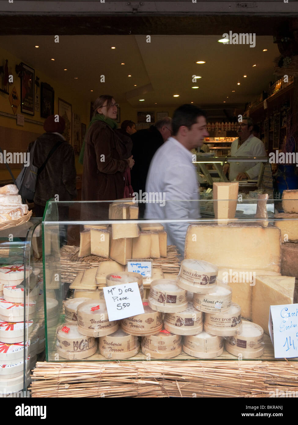A market stall selling cheese in Paris, France. Stock Photo