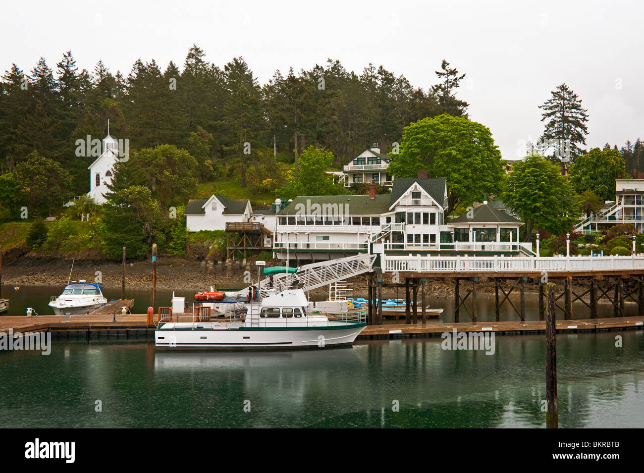 The historical village of Roche Harbor is situated on the North end of San Juan Island in the Puget Sound of Washington Stock Photo
