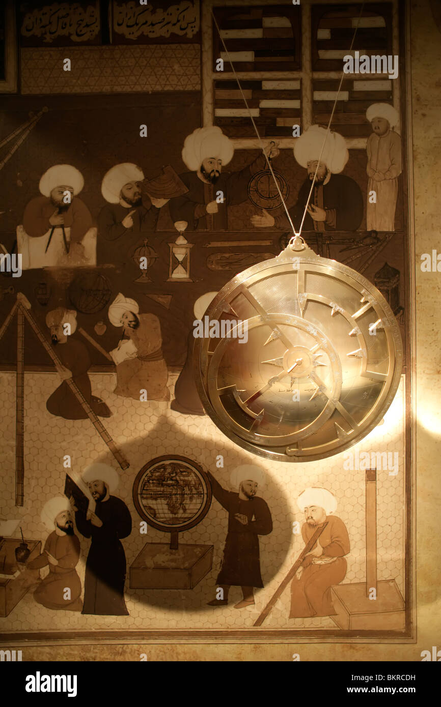 Replica of a 13th century astrolabe at the Museum of the History of Islamic Science and Technology, Istanbul, Turkey - Stock Image