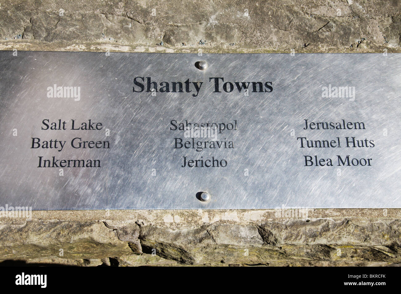 A plaque listing the historic Shanty Towns at the Ribblehead Viaduct. - Stock Image