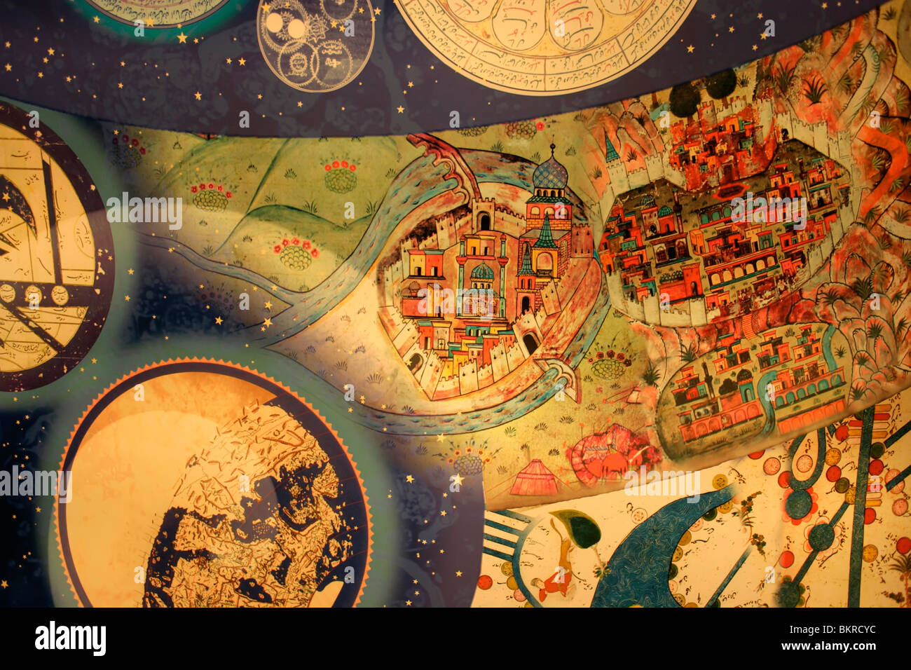 Detail of a ceiling at the Museum of the History of Islamic Science and Technology, Istanbul, Turkey - Stock Image