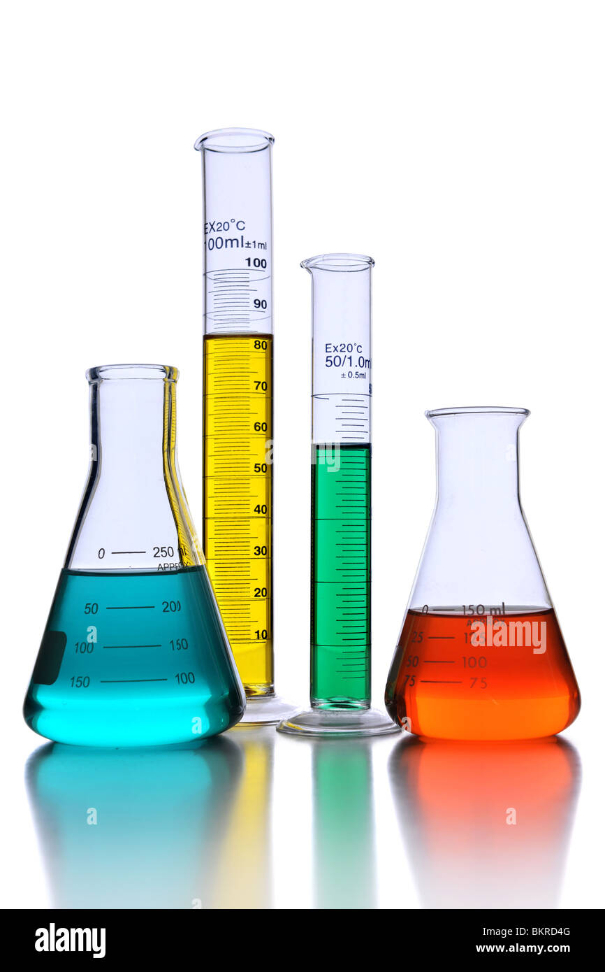 Laboratory glassware with reflections over white background - With Clipping path - Stock Image