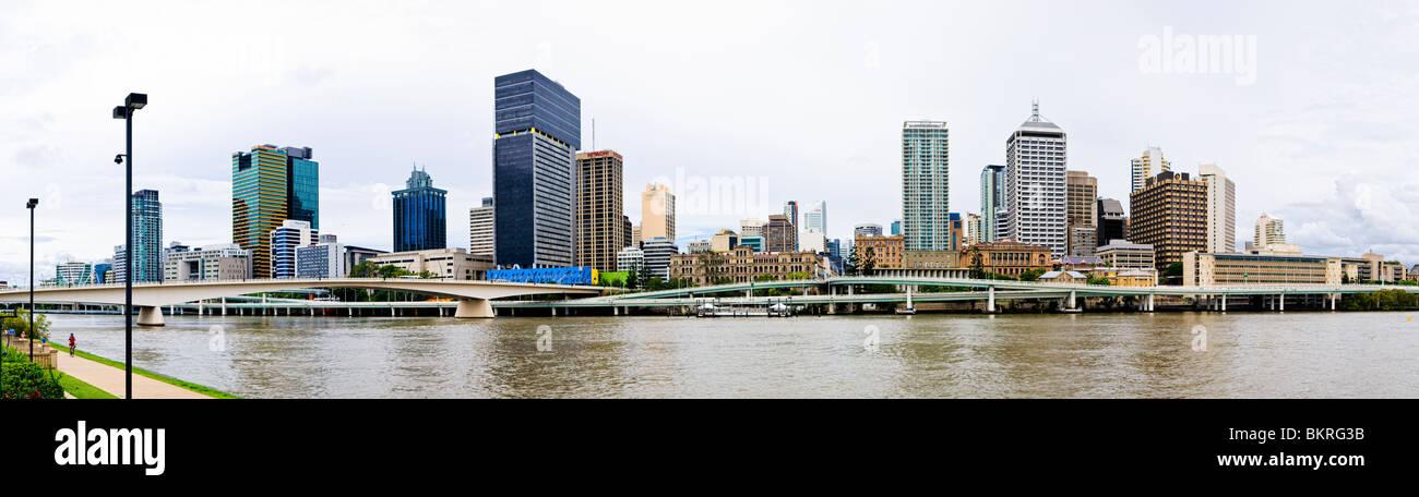 BRISBANE, Australia - High resolution panorama of Brisbane city skyline as viewed from Southbank across the Brisbane - Stock Image