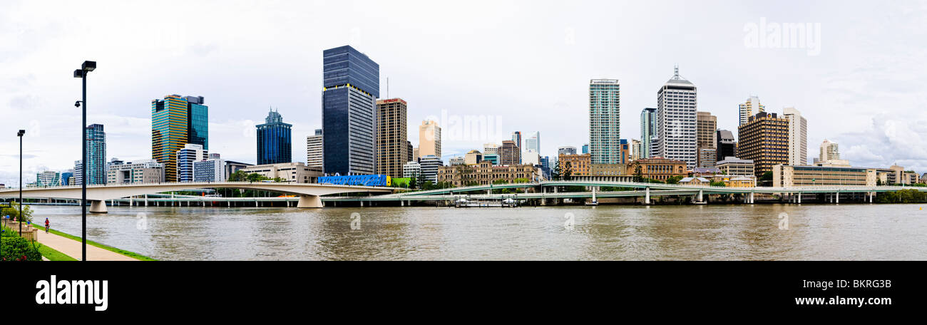 High resolution panorama of Brisbane city skyline as viewed from Southbank across the Brisbane River, with the distinctive - Stock Image