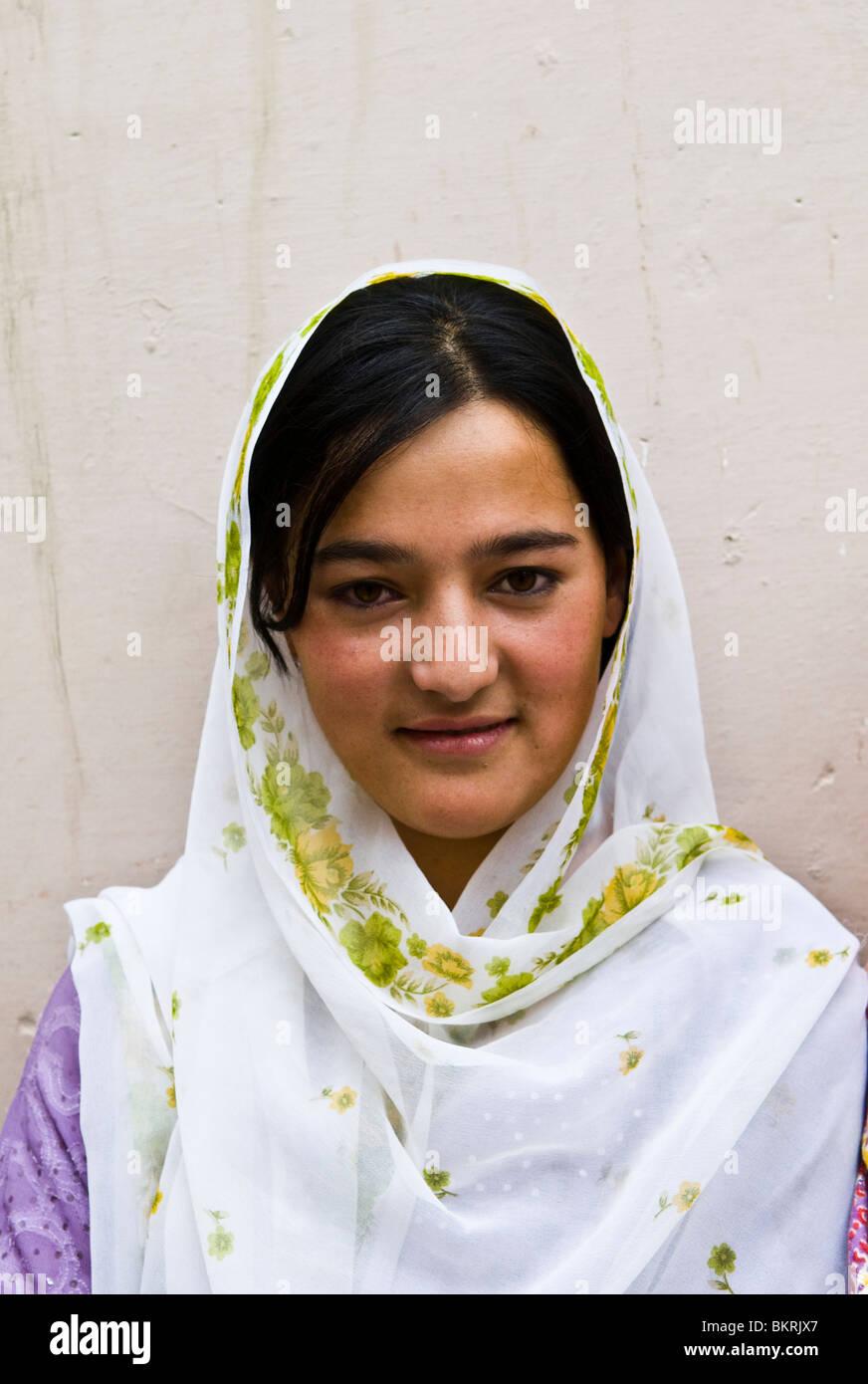 Portrait of a Hunzakut woman. Hunza valley, Pakistan. - Stock Image