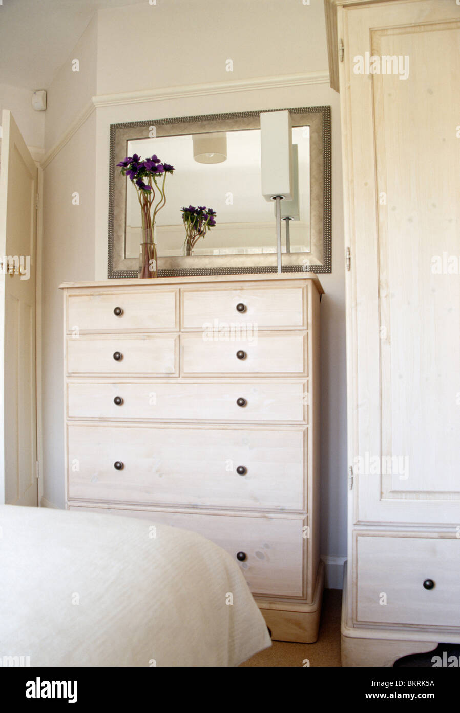 Close Up Of Mirror Above Cream Chest Of Drawers