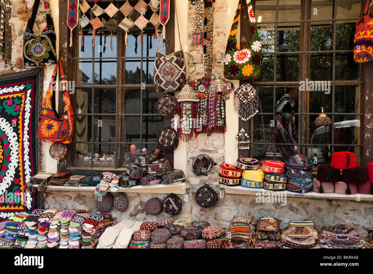 Turkish socks, caps and other crafts for sale in old Antalya town - Stock Image