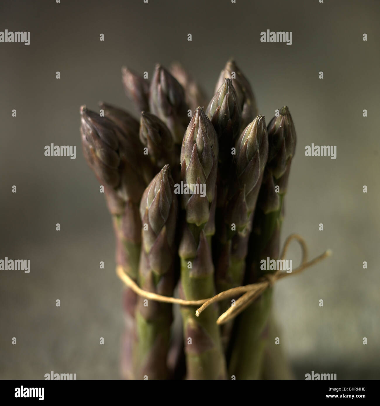 Asparagus bunch dry, tied with string set against moody wooden background. - Stock Image