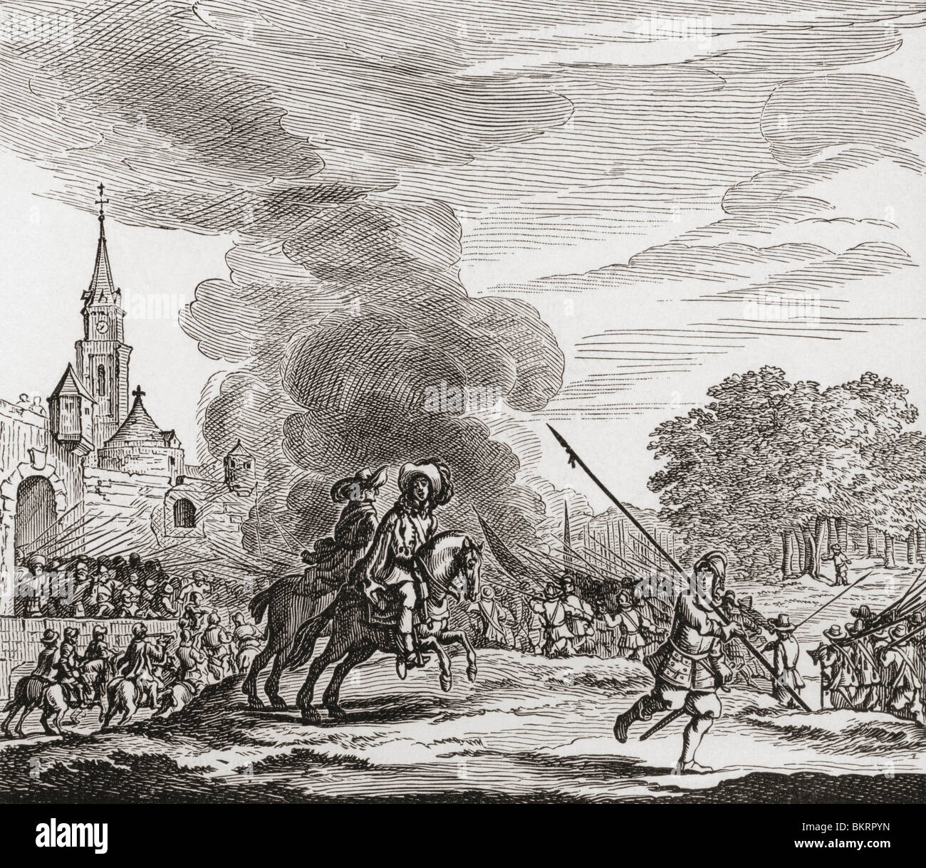 King Charles II escaping after the Battle of Worcester in 1651. - Stock Image