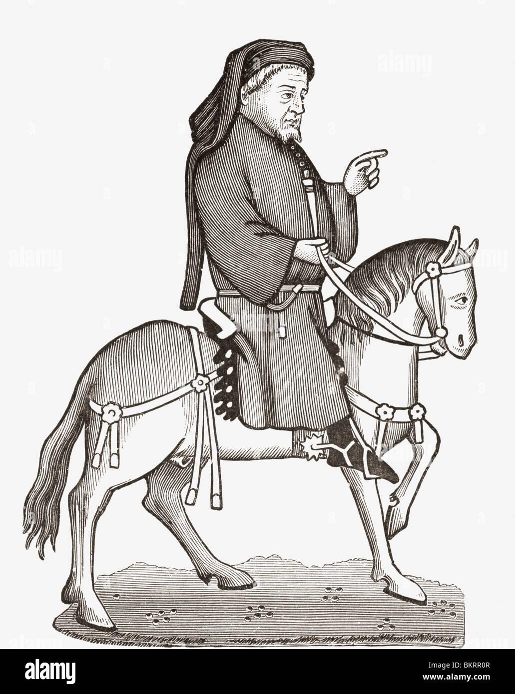 Geoffrey Chaucer c. 1343 to 1400. English author, poet, philosopher, bureaucrat, courtier and diplomat. - Stock Image
