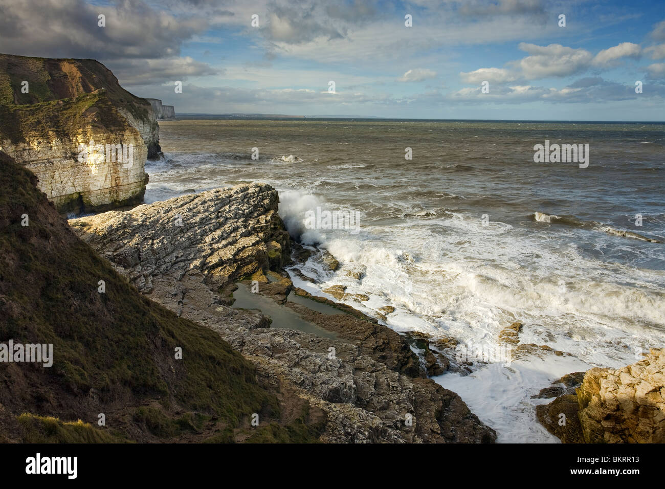 view from Thornwick Bay Flamborough with Amphitheatre, East Yorkshire, England Stock Photo