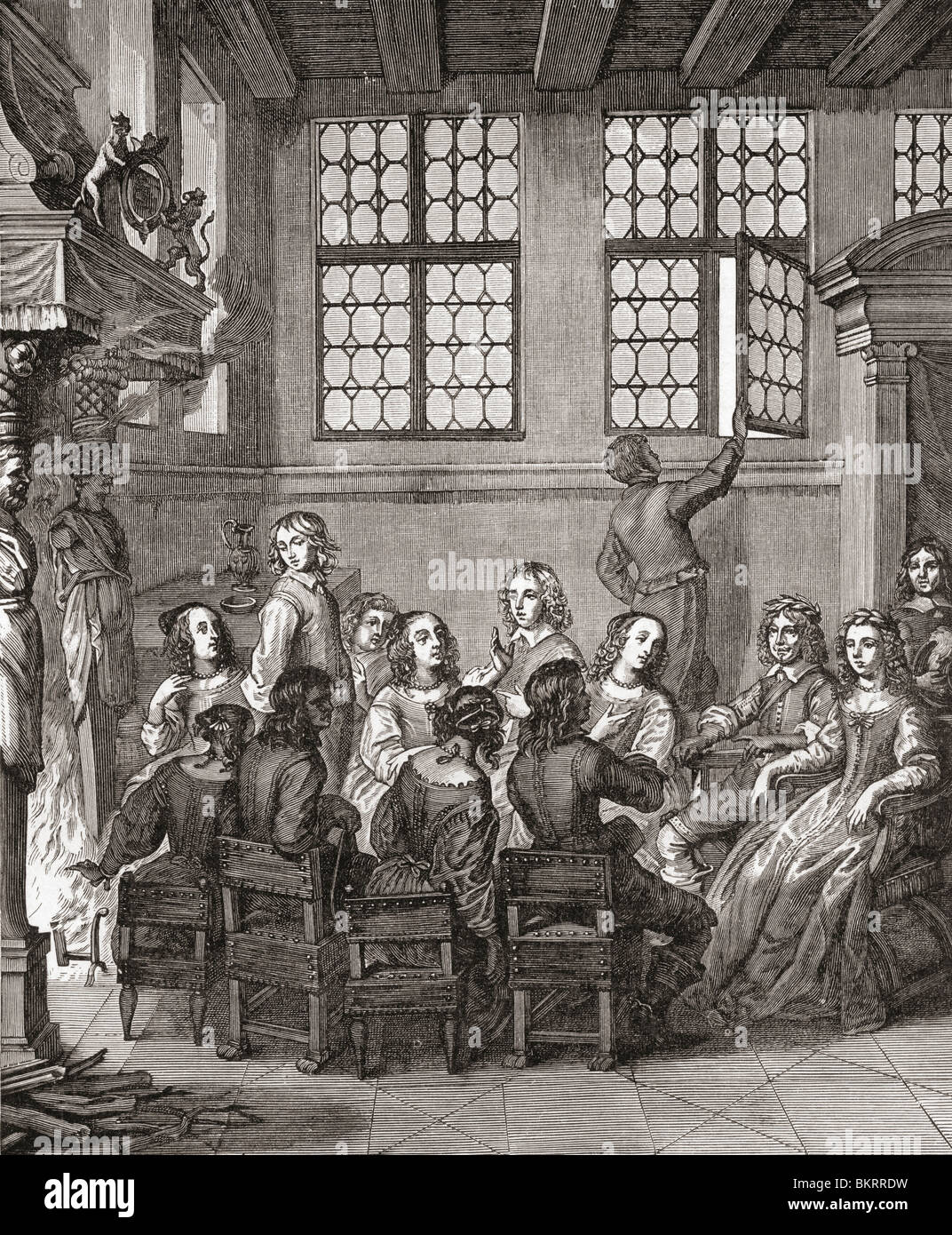 A party at the Duke of Newcastle's house in the 17th century - Stock Image