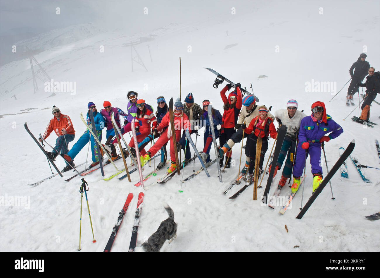 Slovakia, Jasna, group of instructors dressed up to the eighties celebrating the end of the season - Stock Image