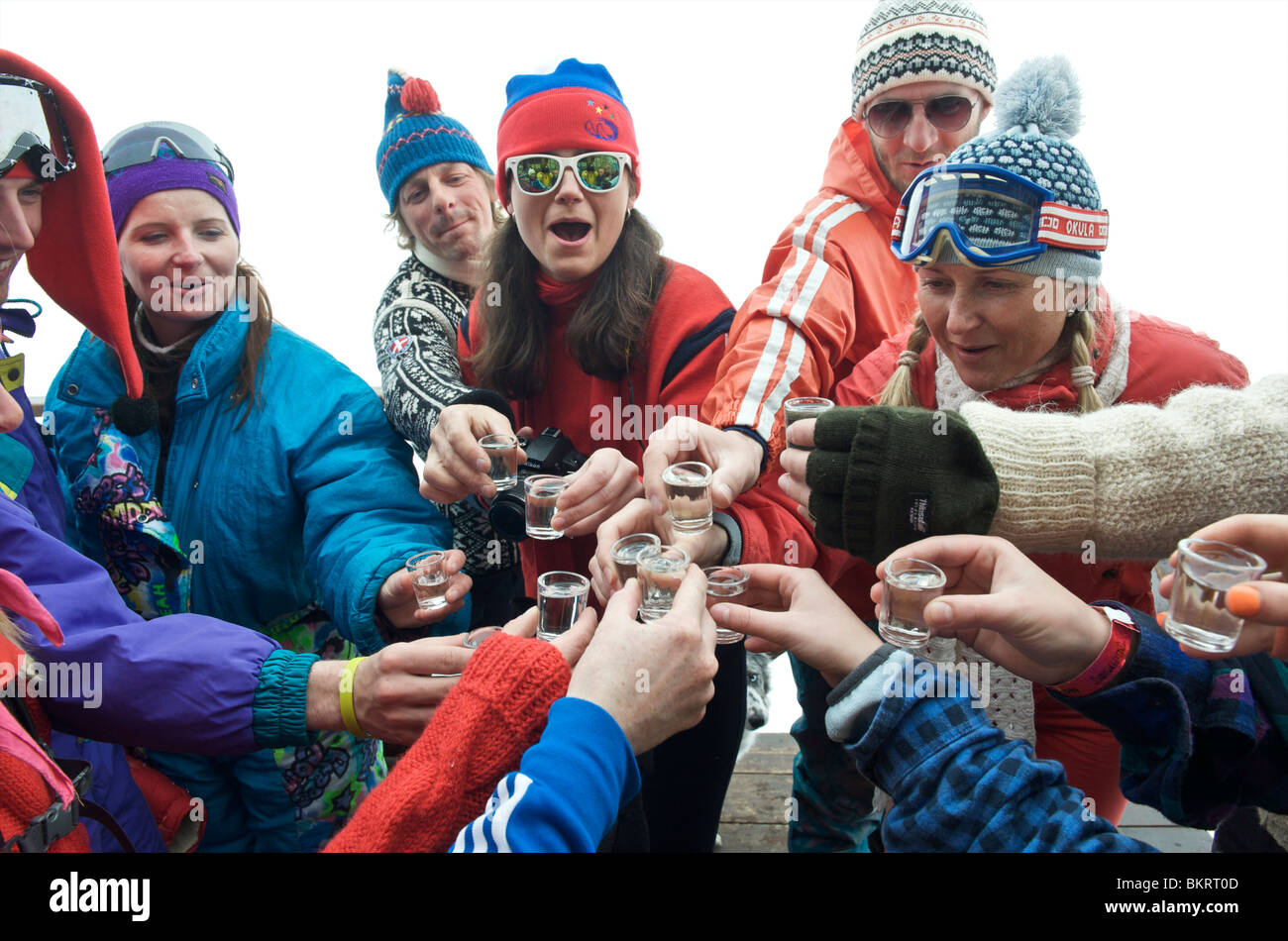 Slovakia, Jasna, group of instructors dressed up to the eighties celebrating the end of the season Stock Photo