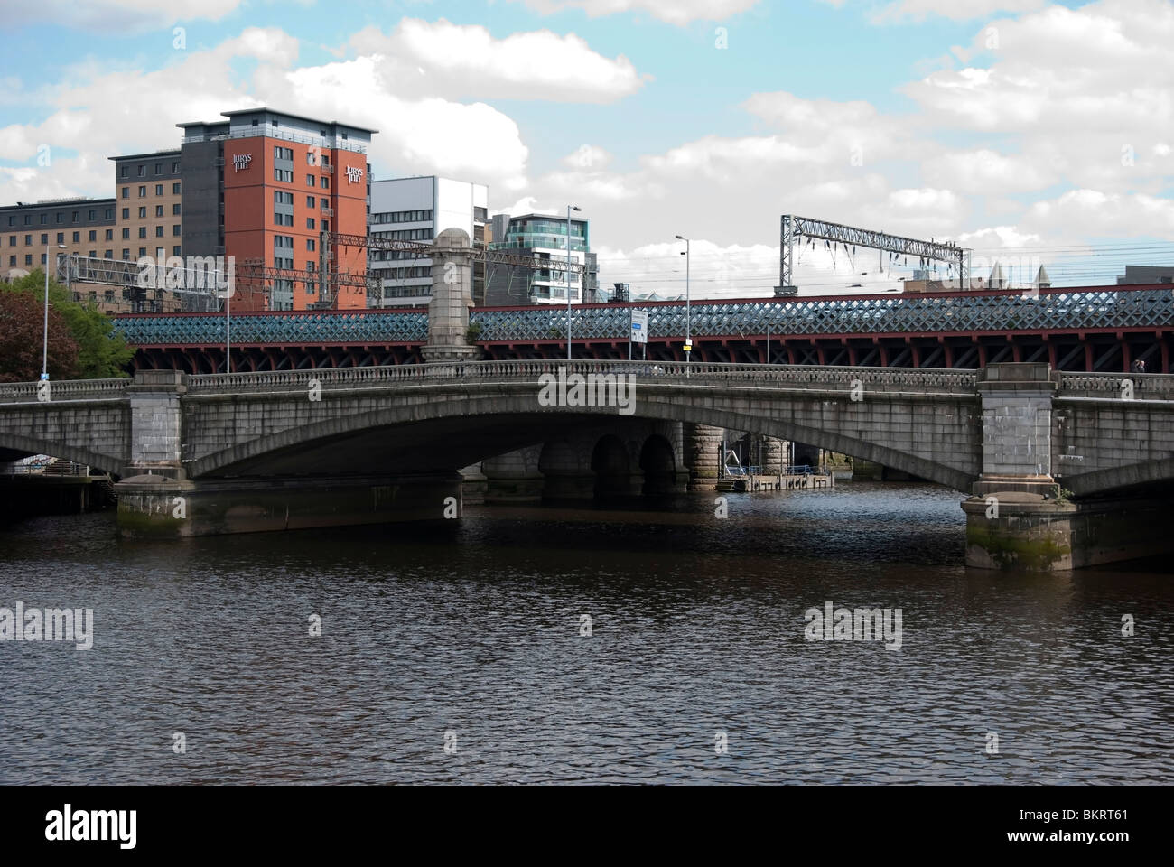 King George V & Caledonian Railway Bridges over River Clyde Glasgow City Centre - Stock Image