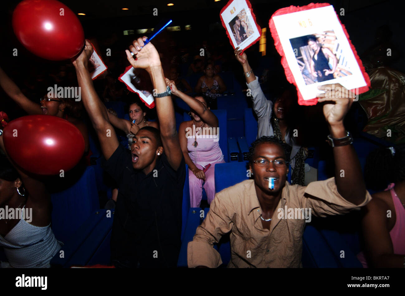 Curacao, the audience is supporting its favorites during the Miss Curacao election - Stock Image