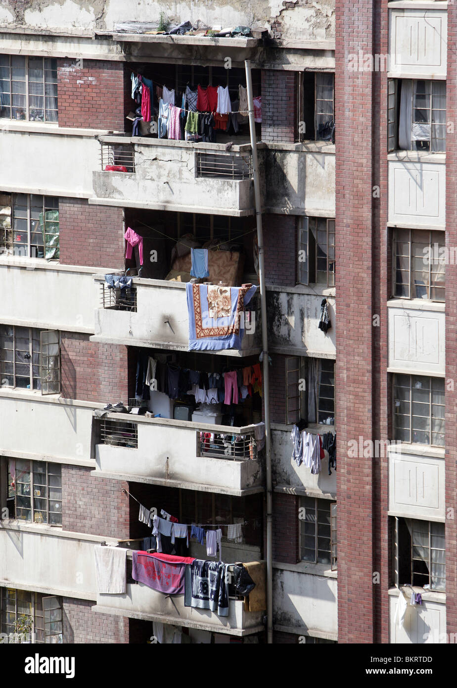 Windows in dwelling-houses in the district Hillbrow, Johannesburg - Stock Image