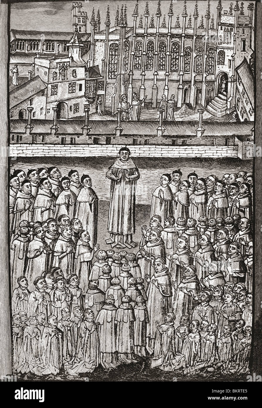 New College, Oxford, England and its one hundred clerks c.1453. - Stock Image