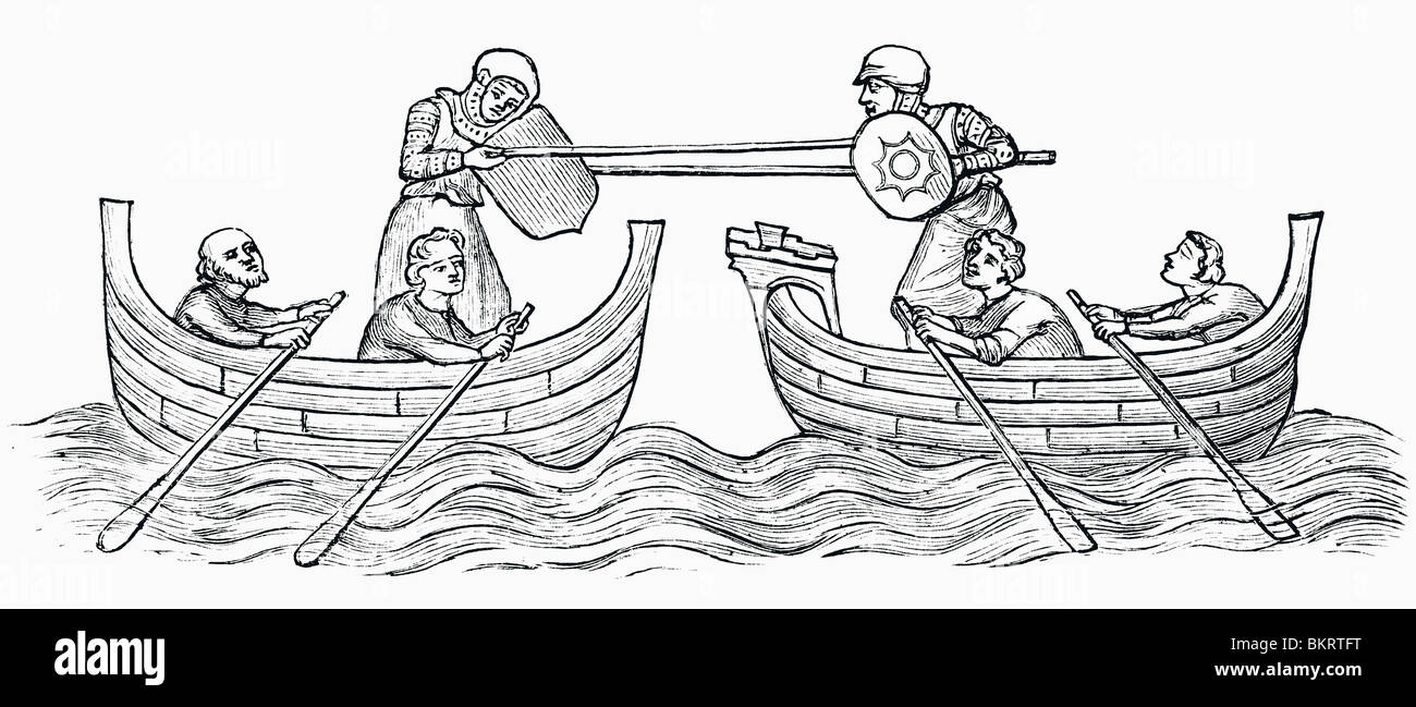 Tilting on water, early fourteenth century. - Stock Image