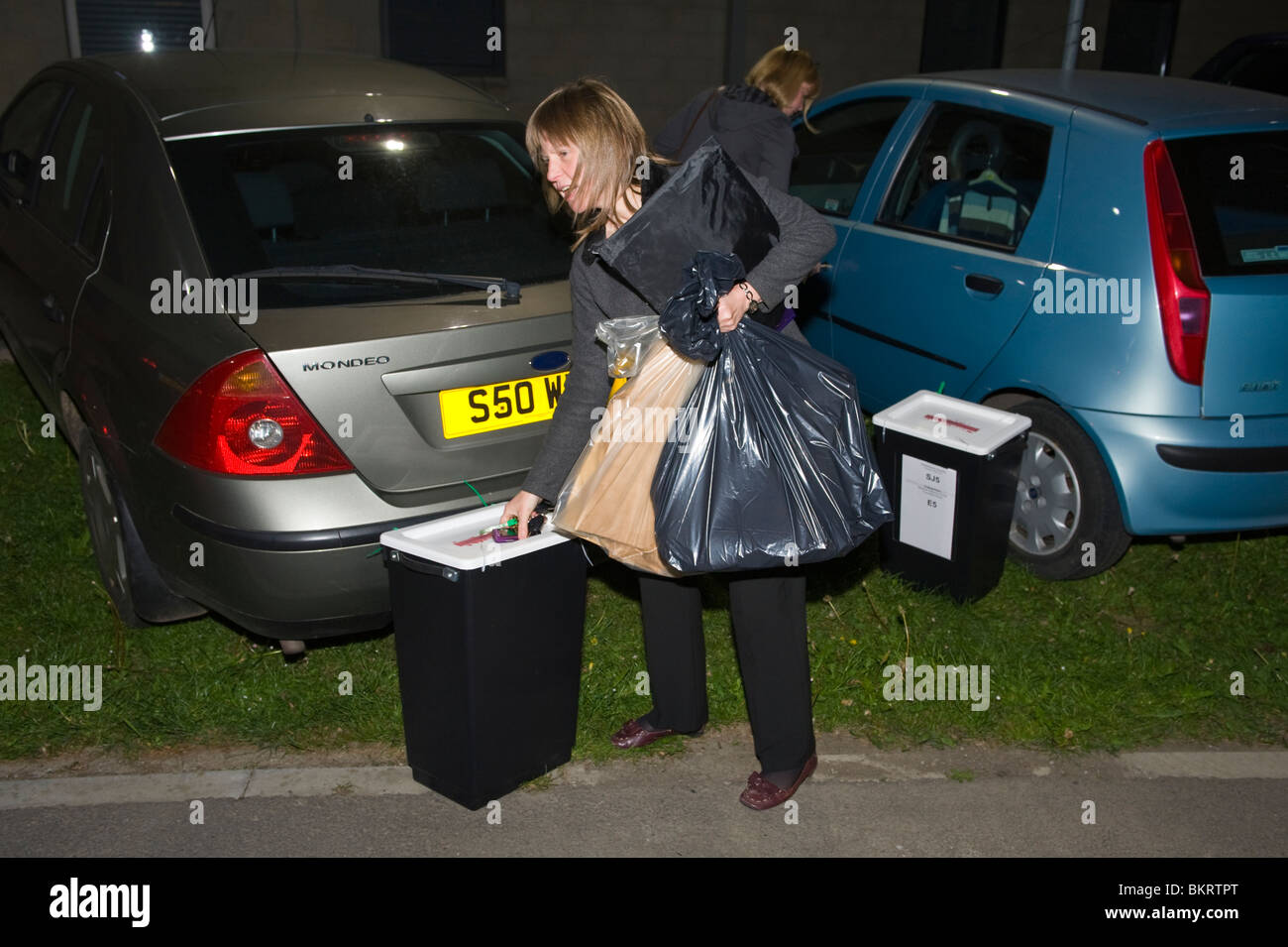 General Election 2010 ballot boxes containing voting papers arrive at the count in Newport South Wales UK - Stock Image