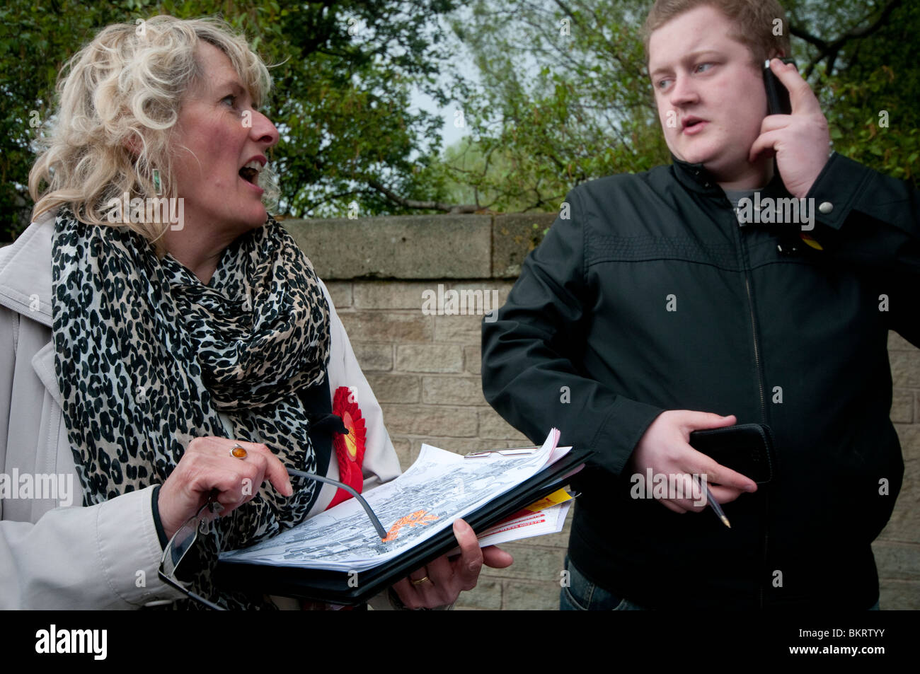 Labour  Party members and candidate Jane Thomas defending the marginal seat of Keighley in the 2010 General Election - Stock Image