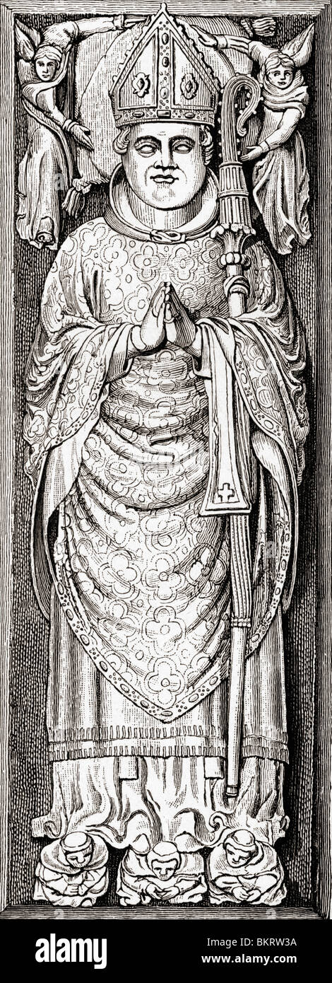 Effigy of William of Wykeham on his tomb in Winchester Cathedral. William of Wykeham,1320 to 1404. - Stock Image